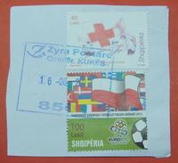 16 - 6 - 2017 ALBANIAN STAMPS, 150 YEARS RED CROSS IN ALBANIA, EURO FOOTBALL 2012 Postmark KUKES - Albania