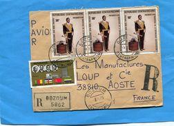 MARCOPHILIE-lettrerec -R C A >Françe-cad-1975-BOZOUM-4-stamps N°A132 Bokassa Maréchal+221 Union Douanière - Central African Republic
