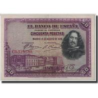 Espagne, 50 Pesetas, 1928, KM:75b, 1928-08-15, TTB - 50 Pesetas