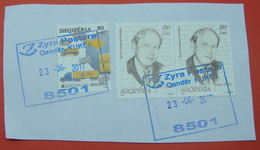 23 - 6 - 2017 ALBANIAN STAMPS, EUROPA CEPT 2013  POSTAL VEHICLES, FAMOUS ALBANIANS JUSUF VRIONI  Postmark KUKES - Albania