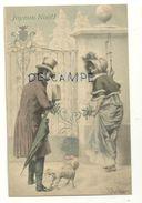 Joyeux Noël. Couple Devant Un Portail, Chien (caniche ?), Gui,, Parapluie . 1907. M.M. Vienne - Wichera