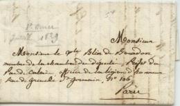 Lettre De St Omer De 1829  Adressée Au Vct Blin De Bourdon Préfet à Paris - Postmark Collection (Covers)