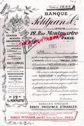 75 - PARIS- TRES RARE BUVARD BANQUE PETITJEAN & CIE FONDEE EN 1858-12 RUE MONTMARTRE - DANS UN LOT DOCUMENTS DE 1868- - Banque & Assurance