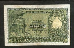 ITALIA 50 Lire Italia Elmata - Firme: Di Cristina / Cavallaro / Parisi - Decr: 31-12-1951 - Rep. Italiana - [ 2] 1946-… : Républic