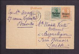 CPA BELGIQUE OCCUPATION ALLEMANDE GUERRE 1914 - 1918 BRUSSEL 1917 ENTIER POSTAL + Timbre + Surcharges - Occupation 1914-18
