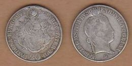 AC  -  HUNGARY 20 KRAJEZAR 1843 DAMAGED - Hongrie