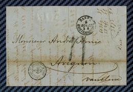 Suisse - BALE / BASEL Pour Avignon (Vaulcuse). Cachet à Date D'entrée En France Par L'ambulant De St-LOUIS. - Marcophilie (Lettres)