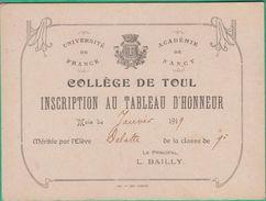 54 - Toul - Collège De Toul - Inscription Au Tableau D'honneur - 1919 - Diplome Und Schulzeugnisse