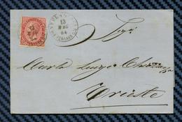 ITALIE - YT#19 S/lettre De PONTELAGOSCURO Pour TRIESTE (Autriche) -1864 - 1861-78 Victor Emmanuel II