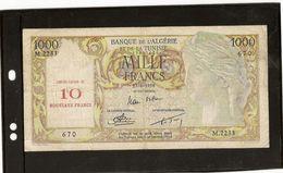 Algérie Billet De 1000 Francs Surchargé 10 Nouveaux Francs RRR En état TB RRRR - Algeria