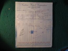 FATTURA COMMERCIALE   CANTINA SOCIALE FRA PRODUTTORI SOAVE VERONA  VINI CHIAVENNA CON MARCA DA BOLLO CENTESIMI 50 - Italy