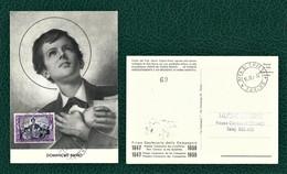ITALIA 1957 - FDC/Cartolina - Centenario Della Morte Di San Domenico Savio - 1 Francobollo Da  15 L. - Sassone 822 - F.D.C.