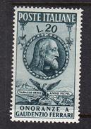 ITALIA 1950.ONORANZE A GAUDENZIO FERRARI SASSONE Nº 622*.NUOVO  LINGUELLATO   CECI 2 Nº 107 - 1946-.. République