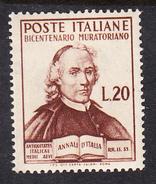 ITALIA 1950.BICENTENARIO LUDOVICO MURATORI SASSONE Nº 625*.NUOVO  LINGUELLATO   CECI 2 Nº 107 - 1946-.. République