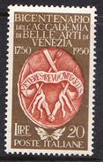 ITALIA 1950.BICENTENARIO ACCADEMIA BELLE ARTI DI VENEZIA SASSONE Nº 632*.NUOVO  LINGUELLATO   CECI 2 Nº 107 - 1946-.. République