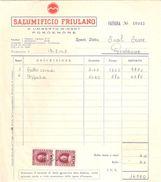 FATTURA Con Marca Da Bollo SALUMIFICIO FRIULANO - Umberto Mingot Pordenone 1963 - Italie