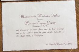 """BIGLIETTO D'INVITO  IN FRANCESE """"....celebre Dans La Plus Stricte Intimite' ...."""" 19 Agosto 1934 A BUDAPEST - Partecipazioni"""