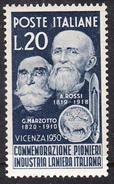 ITALIA 1950 PIONIERI INDUSTRI LANIERA ITALIANA  SASSONE Nº628*  NUOVO LINGUELLATO  CECI 2 Nº 107 - ...-1850 Préphilatélie