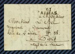 Pas De Calais - Arras Pour Paris. MP 61/ARRAS. 1825 - Marcofilie (Brieven)