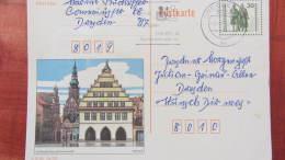 DDR-WU: Gs-Bild-Postkarte Greifswald Mit 30 Pf  Goethe/Schiller -Gs Vom 3.9.90, Nur Im VGO- Aufl. 1 Mio  Knr: P 109/01 - DDR