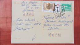 DDR-WU: Gs-Postkarte Mit 10 Pf Bauwerke Kl. Format Grün Und 20 Pf  Zusatzfrankatur Vom 31.08.90 Knr: P 90 - DDR