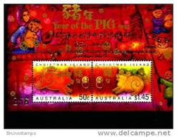 AUSTRALIA-CHRISTMAS ISLANDS-2007 YEAR OF THE PIG MS OVPT BIRTHDAY CHINA PH.SOC. - Christmas Island