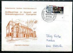 "Germany 1986 Sonderbeleg/Cover Mannheim Mit Mi.Nr.1291 FN U .SST""Mannheim-TAG DER BRIEFMARKE,Day Of Stamps""1 Beleg - Brieven"