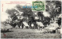 CONGO FRANCAIS Et Dépendances - Un Campement En Tournée D'inspection Dans Le Kouango   (Recto/Verso) - Congo Français - Autres