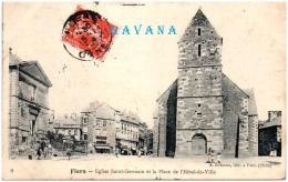 61 FLERS - Eglise Saint-Geremain Et La Place De L'hotel De Ville  (Recto/Verso) - Flers