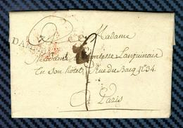 Seine Et Marne - DAMMARTIN Pour PARIS.  LAC De 1823 écrite à OISSERY Indice 8=45euros - Postmark Collection (Covers)