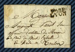 Rhone - LYON Pour Un S/officier D'artillerie De Marine En Rade De TOULON (Var) -1808 - Postmark Collection (Covers)