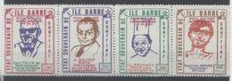 ERINNOPHILIE - ILE BARBE - LA BANDE DES 4 - VIGNETTE SURCHARGE POIL ROUGE Surtaxe Obligatoire 1/4 De Poil - Commemorative Labels
