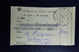 In Latvia Used  Russian Receipt Of Money Order 1921 Wolmar Mitau - Lettland