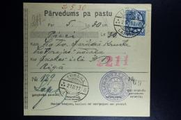 Latvia:  Money Order 1927 Lubahn Riga - Lettland