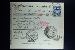 Latvia:  Money Order 1927  Lemsal Riga - Lettland