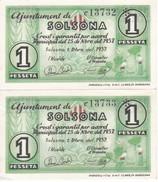 PAREJA CORRELATIVA DE 1 PESETA DEL AJUNTAMENT DE SOLSONA DEL AÑO 1937 SIN CIRCULAR   (BANKNOTE) - [ 2] 1931-1936 : República