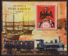Hungary Ungarn Croatia - 1998 - FIUME Rijeka - KARLOVAC - Train Railway Locomotive - Philatelist Memorial Sheet - Feuillets Souvenir