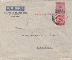 INDIA 1936 Examples On Airmail Cover To Aachen Germany - Bombay Foreign Cancel - Indien