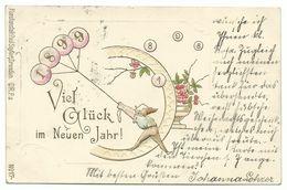 Neujahr 1899 Zwerg Fängt Ballons Mit Jahreszahl Ein Präge-Litho 1898 - New Year