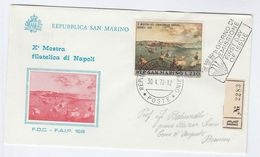 1970 REGISTERED San Marino FDC SAILING SHIP Napoli Mostra Filatelica Europa Art  Stamps Cover - Bateaux