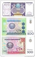 Uzbekistan - Pick 79, 80, 81 - 100, 200, 500 Sum 1994, 1997, 1999 - Unc - Set 3 Banknotes - Uzbekistan