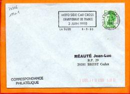 SARTHE, La Suze Sur Sarthe, Flamme à Texte, Moto-side Car Cross, 3 Juin 1990 - Marcophilie (Lettres)