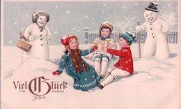 Viel Glück Im Neuen Jahre, Enfants Et Bonhommes De Neige, Litho Gaufrée + Timbre 3 Ct Pro Juventute 1916 (30.12.1917) - Nouvel An
