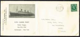 1936 R.M.S. Queen Mary Maiden Voyage Souvenir Cover - 1902-1951 (Könige)