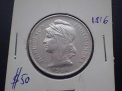 Portugal - 50 Centavos (0$50) 1916 Silver - VF - Portugal