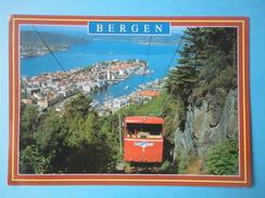Norvegia - Bergen - Floibanen - Funicolare - Scorcio Panoramico - Francobollo 1997 Harebell (Campanula Rotundifolia) - Norvegia