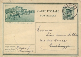 Belgium 1930 Postal Stationery Picture Postcard Le Zoute Sur Mer 35 C. Posted From Manage - Other