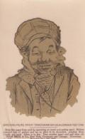 Sticker On Postcard, Man Smokes Pipe Turban(?) On Head, 1900s Vintage Decalomania Postcard - Other