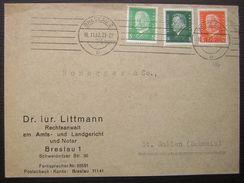 1932 Breslau Bel Affranchissement Tricolore Sur Lettre De Iur Littman  Rechtsanwalt Pour La Suisse (schweiz) - Germania