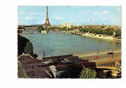Cpm - 75 - PARIS - Tour Eiffel Seine - N°802 EduG - Voiture DS CITROEN Péniche Chantier Grue Sable - The River Seine And Its Banks